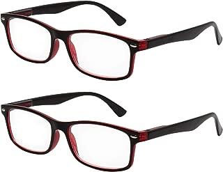 TBOC Gafas de Lectura Presbicia Vista Cansada - (Pack 2 Unidades) Graduadas +3.00 Dioptrías Montura de Pasta Bicolor Negra y Roja Hombre Mujer Unisex de Aumento Leer Ver de Cerca