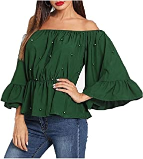 Howely Womens Beaded Tunic Classy Flounced Trumpet Sleeve Tops Blouses