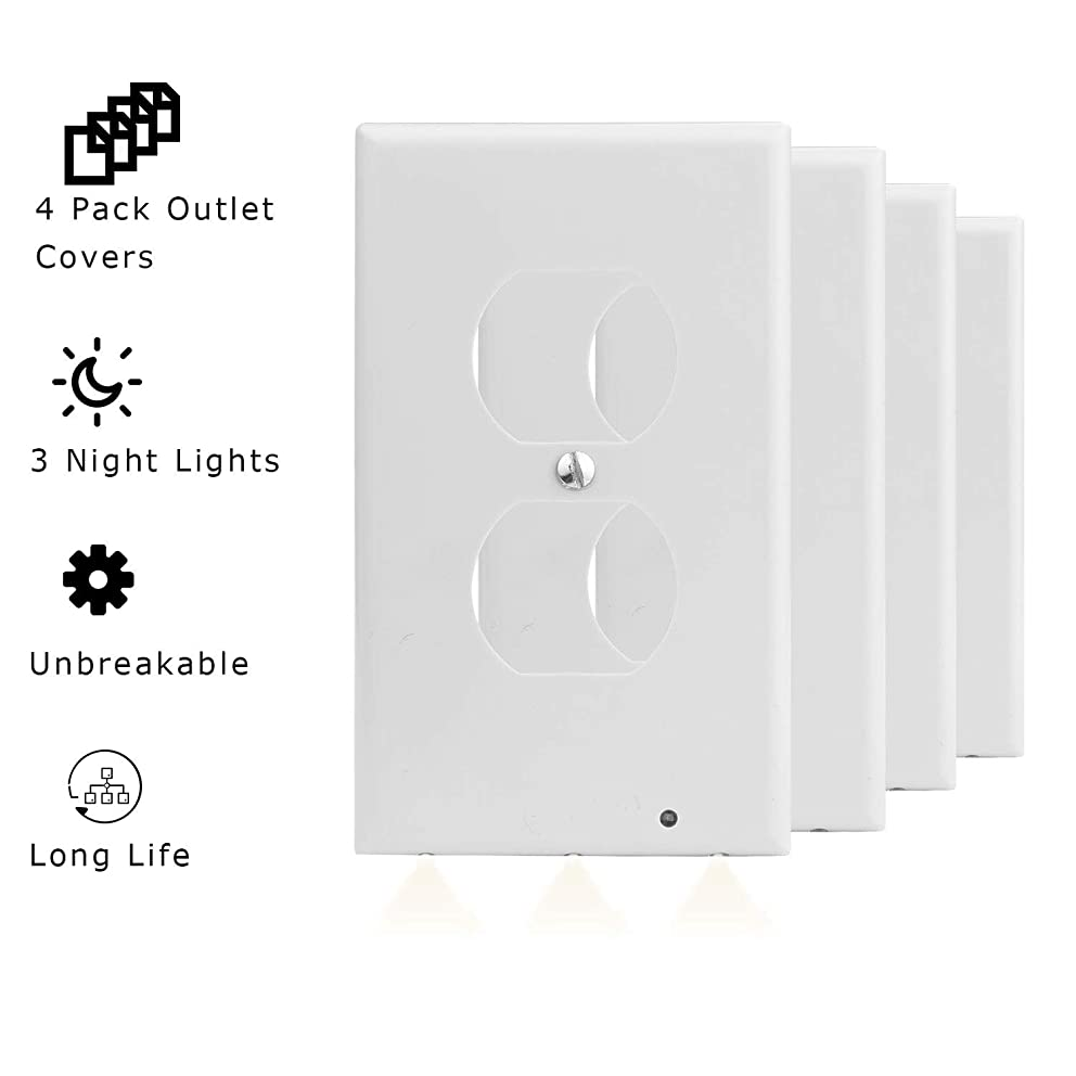 Lifeengine White Wall Outlet Cover Swith Plug Power Plate Plates WallPlate and Covers Standard Size with LED Sensor lights Duplex Decorative Electrical Plate Kit 4PCS