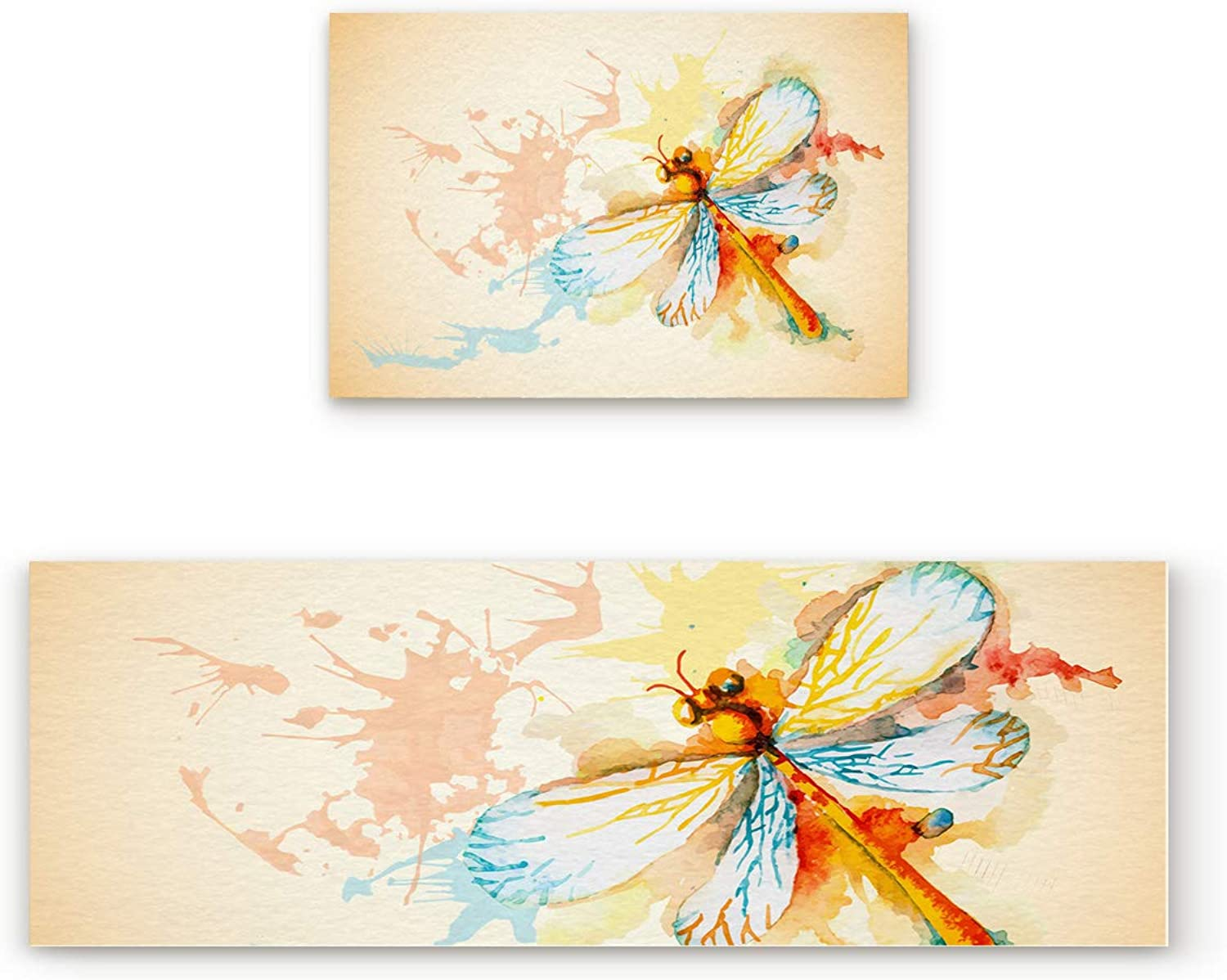 Aomike 2 Piece Non-Slip Kitchen Mat Rubber Backing Doormat Watercolor Dragonfly Runner Rug Set, Hallway Living Room Balcony Bathroom Carpet Sets (19.7  x 31.5 +19.7  x 47.2 )