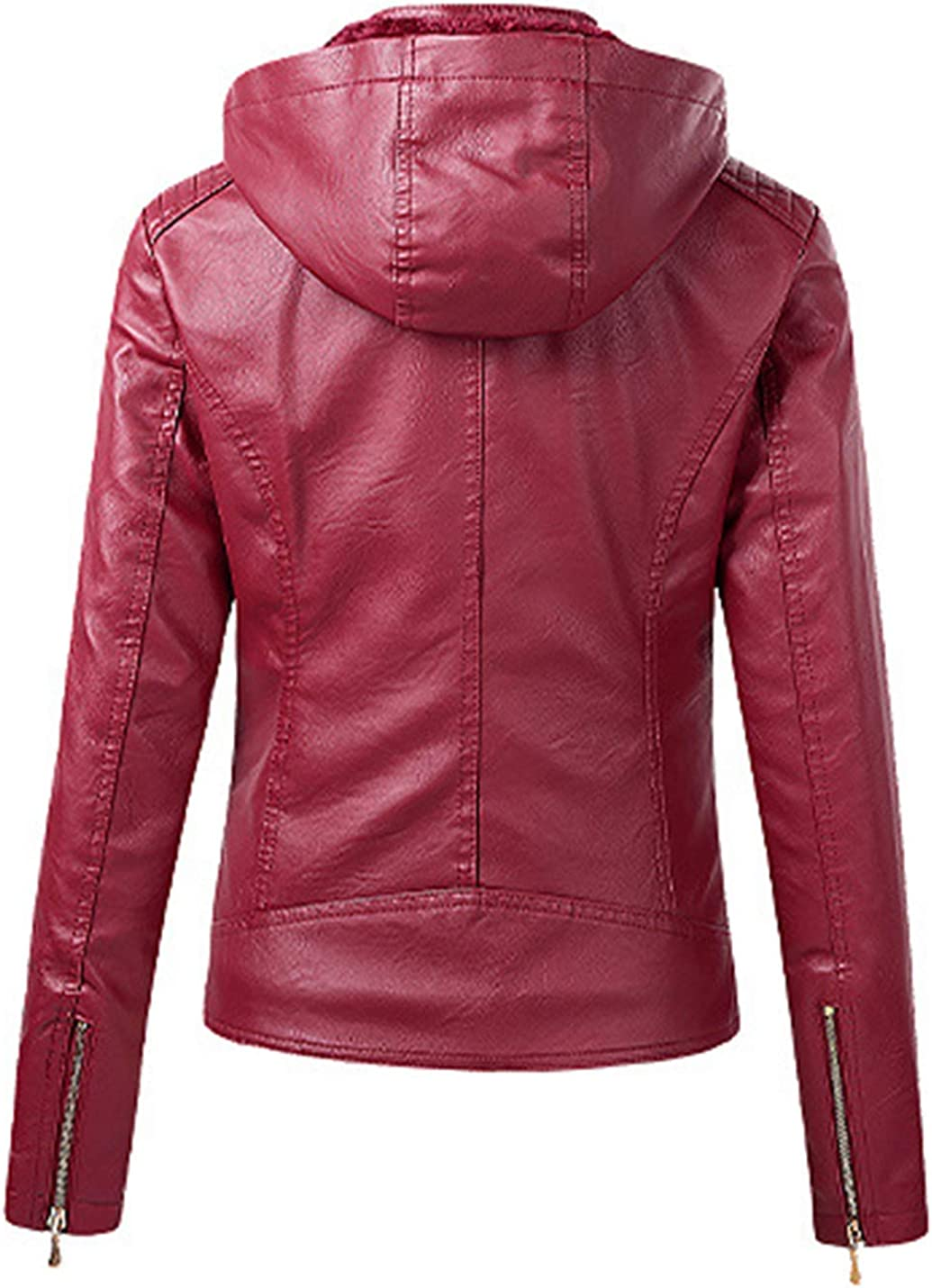 Jenkoon Women's Fur Lined Casual Short Hooded Faux Leather Jacket Short Thickened Coat