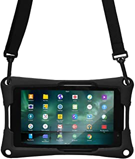 Cooper Trooper 2K Rugged Case for 7 inch Tablet | Tough Bumper Protective Drop Shock Proof Kids Holder Carrying Cover Bag, Stand, Hand Strap (Black)
