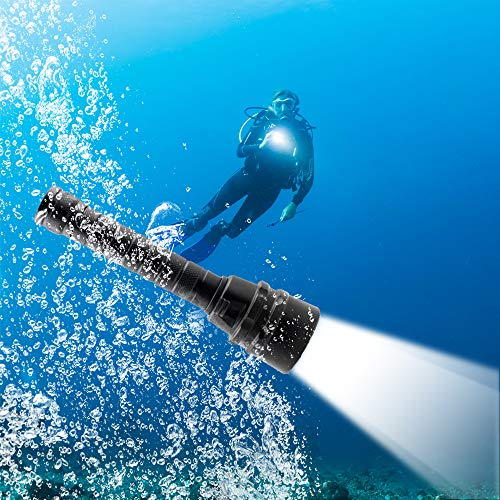 MiXXAR Diving Flashlight 8000LM 5 XM-T6 Lamp Scuba Dive Light Bright LED Scuba Safety Torch for Outdoor Land & Under Water Sports with Battery, Charger, Wrist Strap