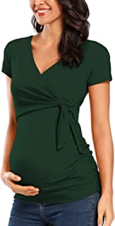 BBHoping Women Maternity Shirts Short Sleeves V-Neck Cute Breastfeeding Pregnancy Tops