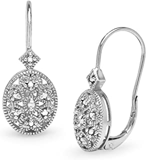 Sterling Silver Oval Filigree Diamond Accent Leverback Drop Earrings, IJ-I3