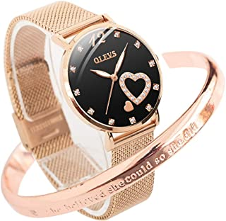 OLEVS Ladies Watches for Women Rose Gold Watch Fashion Love Surface Creative Wristband Steel Strap L5189