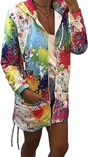 RkBaoye Women Floral Leisure Hooded Stand Collar Pockets Fleece Coat Jacket