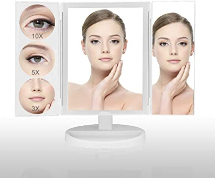 Tri-fold Lighted Vanity Makeup Mirror with Touch Screen and 3X/5X/10X Magnification,  Large Mirror Screen Side(11.8 x 9.4),  44 LEDs High Brightness,  Countertop Cosmetic Mirror (White)