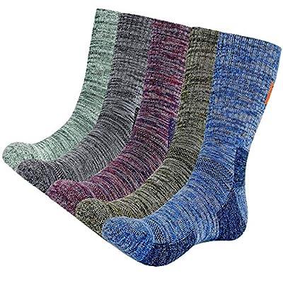 KONY 5 Pairs Men's Moisture Wicking Thick Cushioned Long Hiking Crew Socks, Multi Performance, All Season Gift (Mix-1, Large(US shoe size 11-14))
