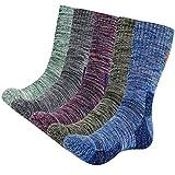 KONY 5 Pairs Men's Moisture Wicking Thick Cushioned Long Hiking Crew Socks, Multi Performance, All Season Gift (Mix-1, Medium(US shoe size 8-11))