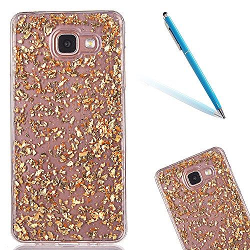CLTPY Cover per Samsung Galaxy A5(2016), Colorato Belle 3D Cristallo Modello del Diamante Progettazione Shell in Liscio Toccare Gomma per Galaxy A510F + 1x Stilo - Oro