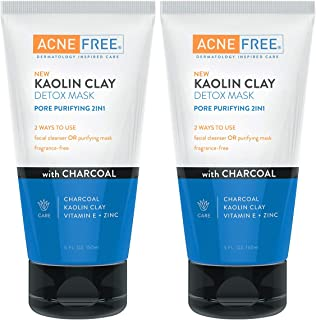 Acne Free Kaolin Clay Detox Mask Pack of 2, 5oz each, With Charcoal, Kaolin Clay, Vitamin E + Zinc, Cleanser or Mask for Oily Skin, to Deeply Clean Pores and Refine Skin