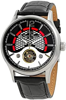 Men's 'Transway' Automatic Stainless Steel and Black Leather Casual Watch (Model: LP-15038-01)