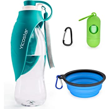 Yicostar Dog Water Bottle for Walking, 20 OZ Travel Pet Water Bottle with Collapsible Dog Bowl and Potty Waste Bag for Dogs, Portable Dog Water Dispenser for Hiking, Parking and Outdoor