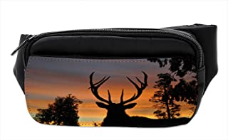 Ambesonne Antlers Bumbag, Island New Zealand, Fanny Pack Hip Waist Bag