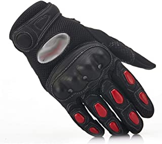 Motorcycle Gloves, Four Seasons Rider Locomotive Gloves, Anti-Fall Breathable Off-Road Gloves,red,L