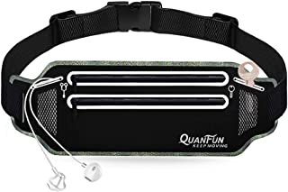 """QUANFUN Slim Running Belt, Fanny Packs Waist Pack for Cell Phones,Running Pouch Cell Phone Holder with Two Zip Pockets for Women Men, Workout Gym Accessories Runner Belt Fits up to 6.5"""" Phones"""