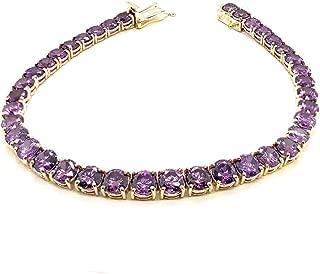Certified 10k Gold Genuine Amethyst Fancy Tennis Bracelet