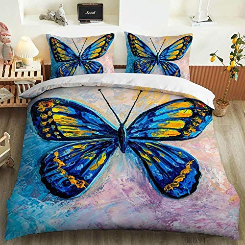 PNNNU Duvet Cover Set 3D Print Butterfly Single Double King Size Animal Print Duvet Bedding Set 200x200 Cm (Style A,135 x 200 cm)