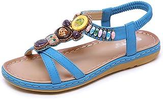 Women's Summer Rhinestone Sandals Folk Sandals Boho Beach Flip Flops Flat Elastic T-Strap Post Thong Sandals