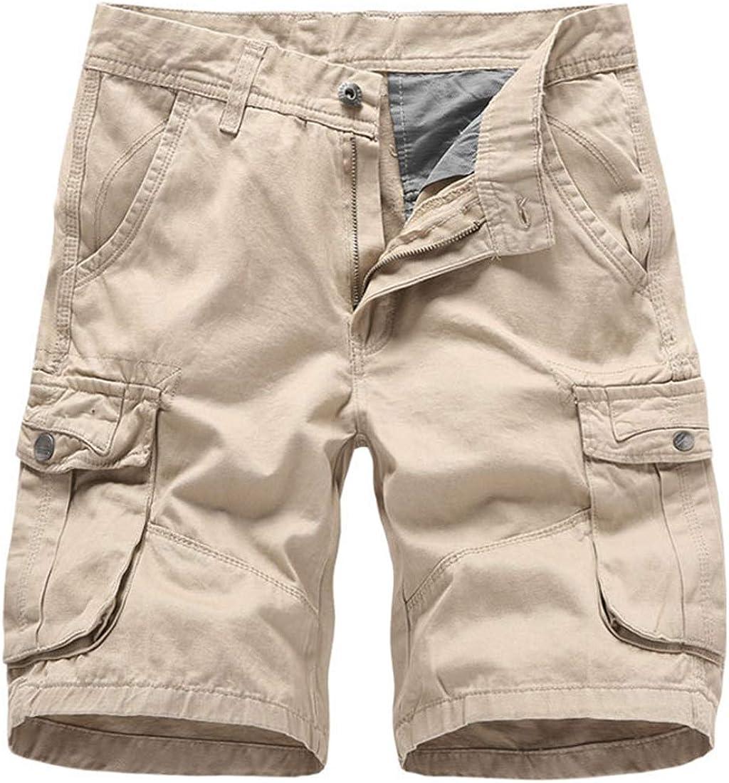 AMEBELLE Men Casual Regular Fit Multi Pocket 100% Cotton Outdoor Cargo Shorts