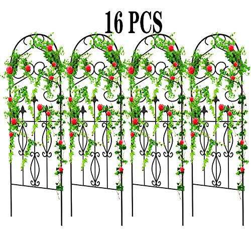 Amagabeli 16 Pack Garden Trellis for Climbing Plants 60' x 18' Rustproof Black Iron Potted Vines...