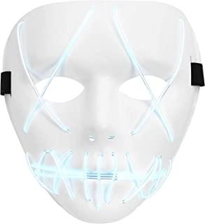 Halloween Mask LED Light Up Purge Mask for Festival Novelty and Creepy Cosplay Costume with 3 Modes
