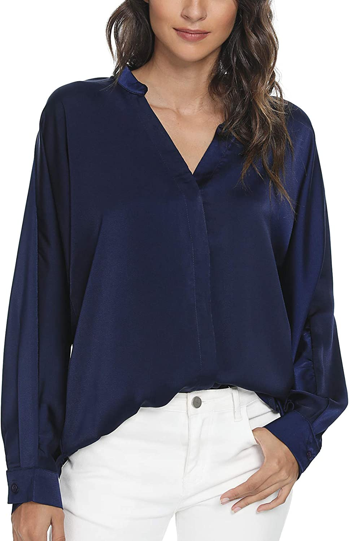 Tivanna Women Leopard Print Blouse Long Sleeve Shirt V Neck Tunic Casual Loose Top