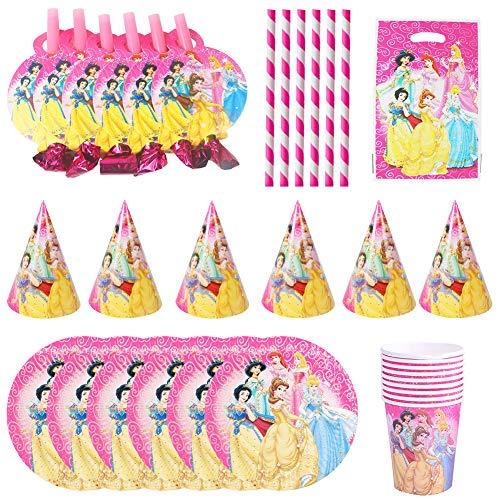 JPYH Gebutstag Party Set Prinzessin Party-Set 31-pcs, Prinzessin Party Supplies Set, Princess Party Dekoration liefert Teller Becher Servietten Pappteller Pappbecher für 6 Kinder