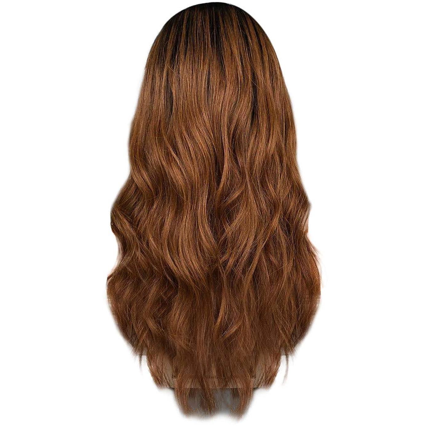 長老料理をする優先権女性の茶色のグラデーション長い巻き毛のかつらセクシーなファッションナチュラルかつら遠出パーティーかつら65 cm