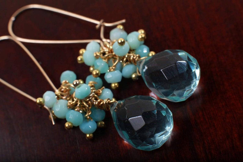 Natural Peruvian Limited time New sales trial price Opal Cluster Earring Bri with Hydro Aqua Quartz