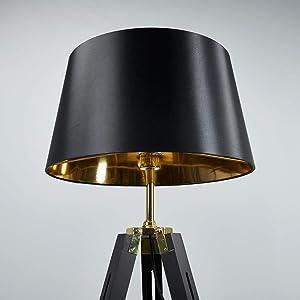 Lampenwelt Dreibein Stehlampe 'Ellinor' (Modern) in Schwarz aus Textil u.a. für Wohnzimmer & Esszimmer (1 flammig, E27, A++) | Textil-Stehleuchte, Tripod, Wohnzimmerlampe
