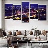 5 pinturas de las hermosas escenas nocturnas panorámicas del puente estrecho de Estambul, Turquía, imágenes de decoración del hogar