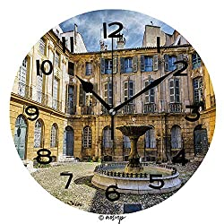 ALUONI 10 Inch Round Face Silent Wall Clock Alberta Square Aix En Provence Unique Contemporary Home and Office Decor SW155139