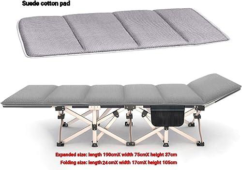 Lit Pliant, lit de Camping pour Adultes, lit de Camping, lit Pliant portatif, lit Simple, Bureau, lit de Repos, Poids, Fauteuil-Bed+Suede