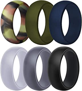 Harky Homn Silicone Wedding Ring for Men, Rubber Wedding Bands Breathable Mens Silicone Rings - 6 Pack (Camo,Navy,Green,Light Grey,Dark Grey,Black)
