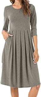 MINTLIMIT Women's Casual Dress Half Sleeve A-Line Plain Pleated Swing Midi Dress with Pockets Large Grey