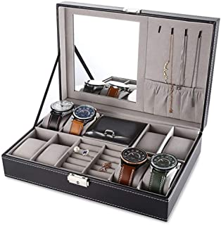 SIBY Leather Case Multifunctional Storage Box Organizer for Earrings Ring Bracelet Watch Display Box Holder With Mirror, 1...