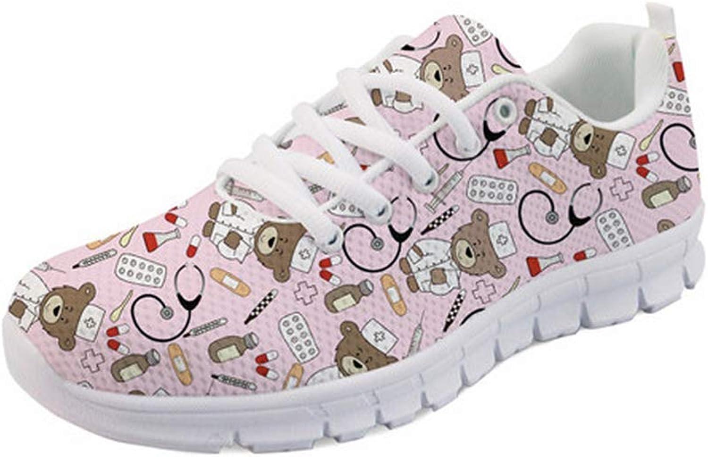 Good-memories Spring Nurse Flat shoes Women Cute Cartoon Nurses Printed Women's Sneakers shoes Breathable Mesh Flats Female shoes