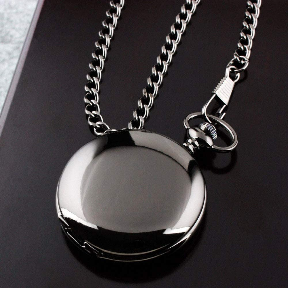 GOHHK Max 80% OFF Pocket Watch Retro Black Q Smooth New Orleans Mall Steampunk Silver Fashion