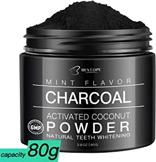 Teeth WhiteningCharcoal Powder, MayBeau Large Capacity Activated Charcoal Coconut Powder Best Natural Mint Tooth Whitener Powder(2.8 Oz)