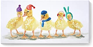 amatop Small Wall Art Cute Animal Baby Ducks Canvas Print Yellow Painting Artwork Modern Lovely Picture for Nursery Kids Room Bathroom Bedroom Wall Decor Stretched Ready to Hang 16x8in