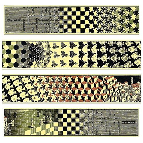 Artopweb Escher - Metamorphosis Ii, 1940 (4 MDF Panels) Pannello Decorativo, Legno, Multicolore, 100 x 22 Cm