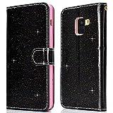 Galaxy A5 2018 Case Glitter Wallet Black, Glitter Sparkle