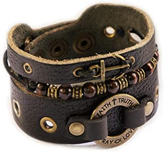 Mens Christian Bracelet with Cross, Religious Leather Wristband Gift