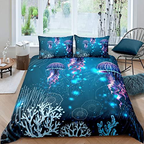 Juego de Funda nórdica Galaxy Juego de Cama con temática de Medusas coralinas 230x220cm Juego de Cama Meerlife Colorful Ocean Underwater World de 3 Piezas