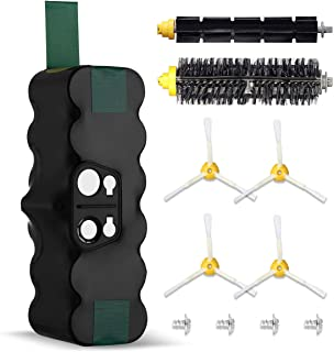 Powerextra Batería de Reemplazo para iRobot Roomba 4500mAh Ni-MH 14.4V Batería Series 510 530 535 540 550 560 570 580 610 760 770 780 800 870(con 1 par de cepillos de rodillos)
