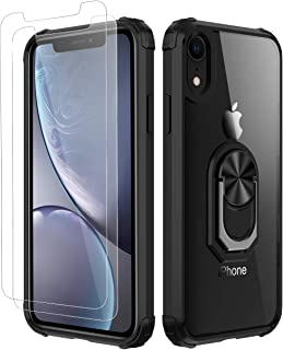 Amuoc iPhone XR Case,[ Military Grade ] with [ Glass Screen Protector] 15ft. Drop Tested Protective Case   Kickstand   Compatible with Apple iPhone XR Case -Black