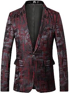 Men's One Button Floral Blazer Regular Fit Peak Lapel Prom Party Jacket Dinner Coat