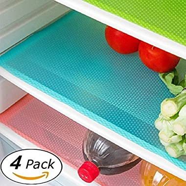 Wild Tribe 4 Pack Refrigerator Mats, EVA Refrigerator Liners Washable Can Be Cut Refrigerator Pads Fridge Mats Drawer Table Placemats 17.7  x 11.8  Random Colors